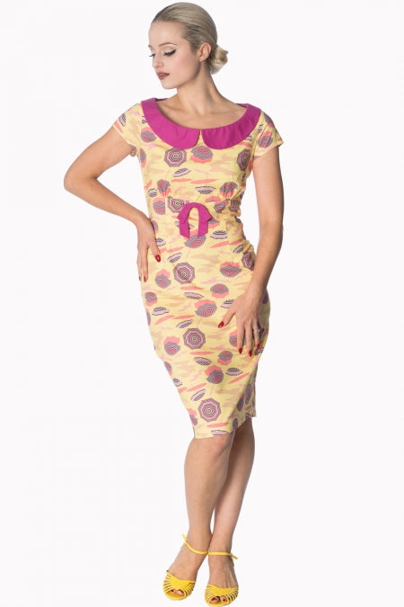Banned Apparel - Cream Parasol Wiggle Dress