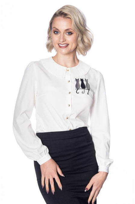Banned Apparel - Creative Cat Pleat Collar Top