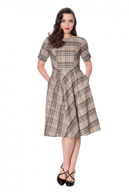 Banned Clothing - Cutie Check Fit And Flare Dress