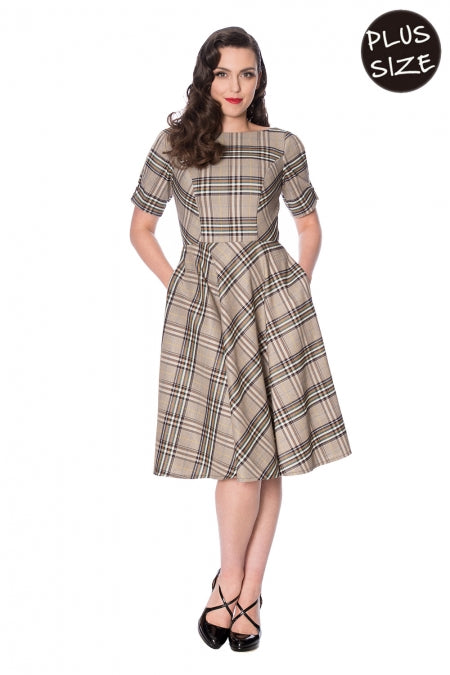 Banned Clothing - Cutie Check Fit And Flare Dress Plus Size