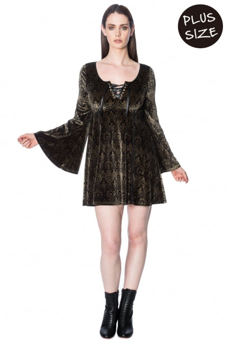 Banned Apparel - Damask Flared Dress Plus Size