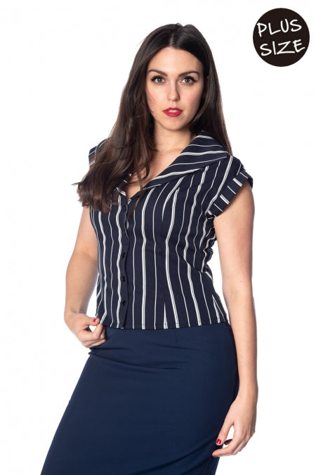 Banned Apparel - Deckchair Stripe 1920s Top Plus Size