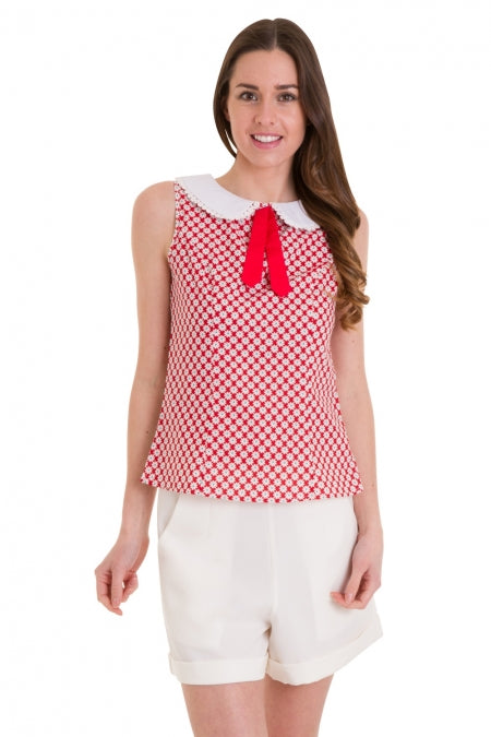 Banned Apparel - Ditsy Daisy Red Top