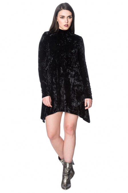 Banned Apparel - Goth Velvet Turtle Neck Dress