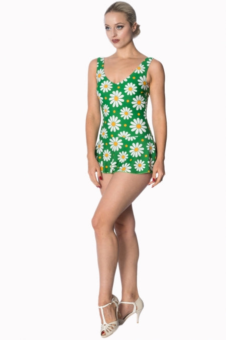 Banned Apparel - Green Crazy Daisy Swimsuit