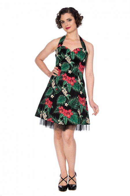 Banned Apparel - Hibiscus Halter Flare Dress