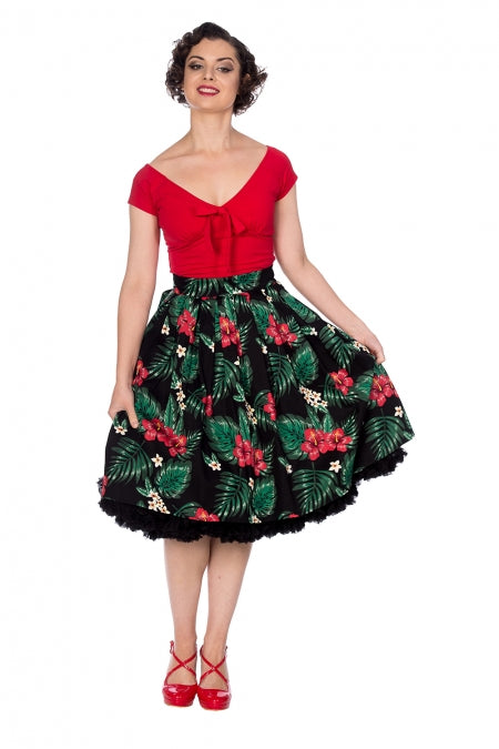 Banned Apparel - Hibiscus Pleated Skirt