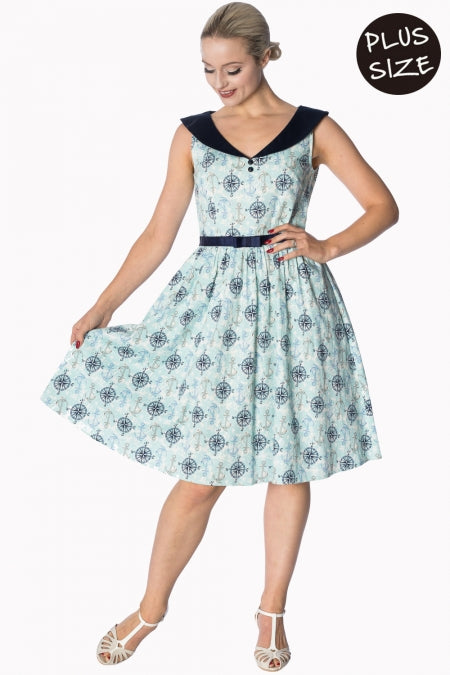 Banned Apparel - Light Blue Compass 50s Dress Plus Size - Egg n Chips London