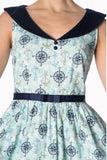 Banned Apparel - Light Blue Compass 50s Dress - Egg n Chips London