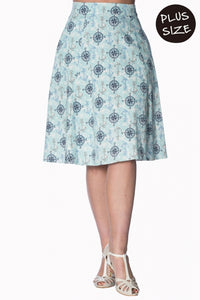 Banned Apparel - Light Blue Compass Skirt Plus Size - Egg n Chips London