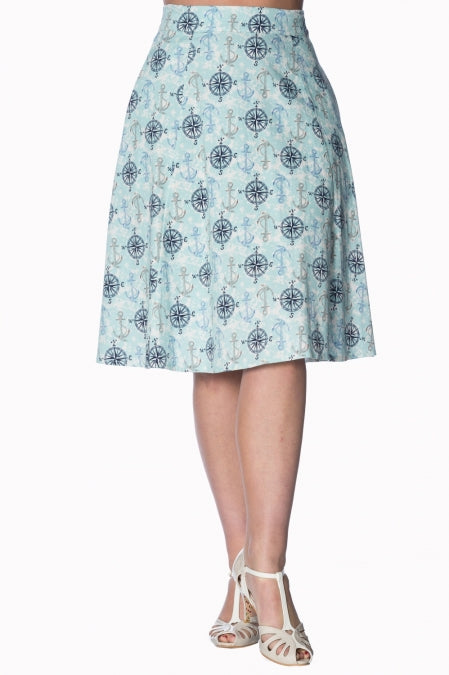 Banned Apparel - Light Blue Compass Skirt - Egg n Chips London