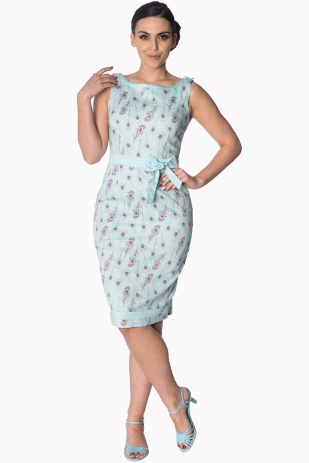 Banned Apparel - Light Blue Peacock Wiggle Dress - Egg n Chips London