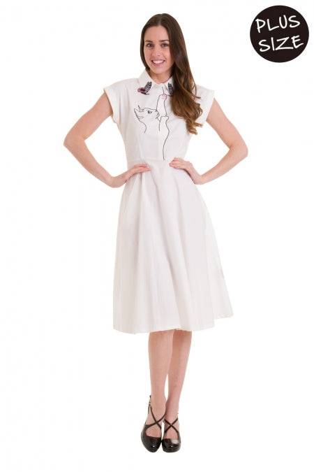 Banned Apparel - Meow Longer White Dress Plus Size