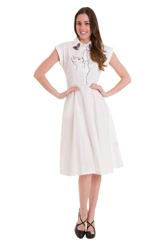 Banned Apparel - Meow Longer White Dress
