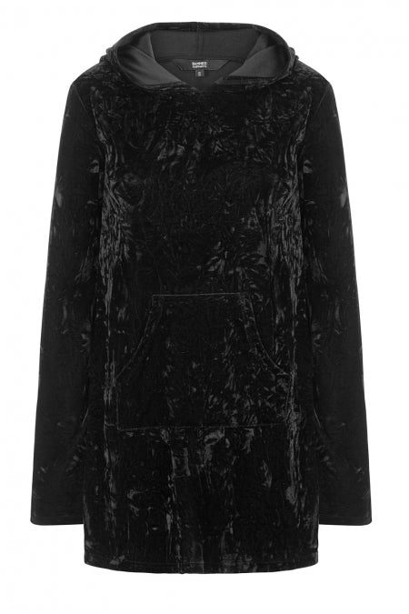 Banned Apparel - Minimal Goth Velvet Hoodie Dress