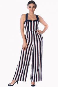 Banned Apparel - Navy/Red/White Stripes Set Sail Playsuit