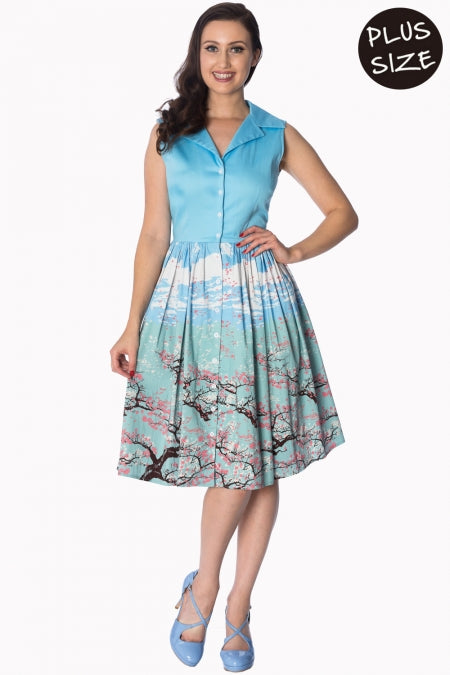 Banned Apparel - Oriental Blossom 50s Blue Shirtdress Plus Size