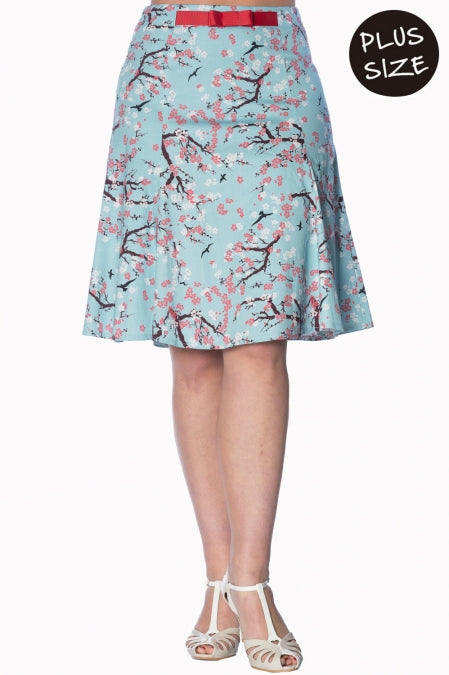 Banned Apparel - Oriental Blossom Aqua Skirt Plus Size