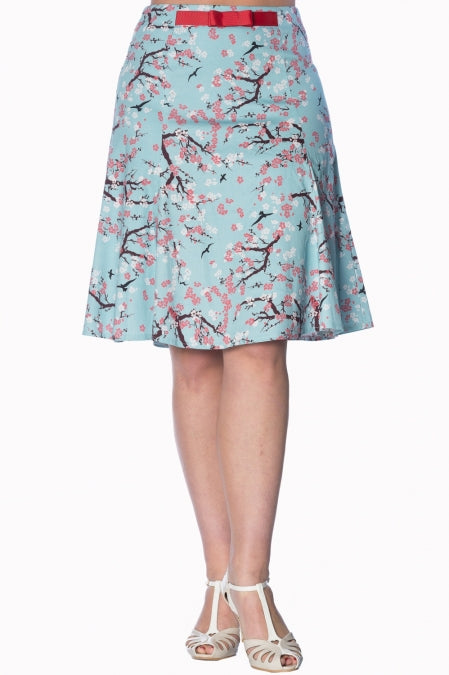 Banned Apparel - Oriental Blossom Aqua Skirt