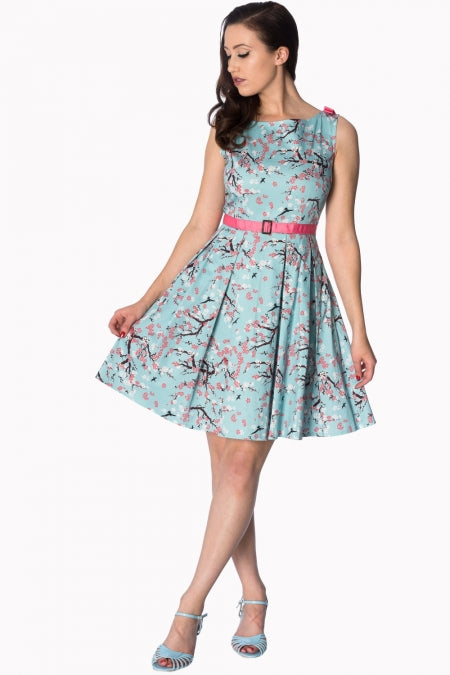 Banned Apparel - Oriental Blossom Bow Aqua Shoulder Dress
