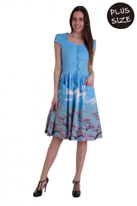 Banned Apparel - Oriental Blossom Fitted Bodice Dress Plus Size