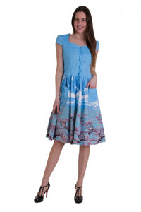 Banned Apparel - Oriental Blossom Fitted Bodice Dress