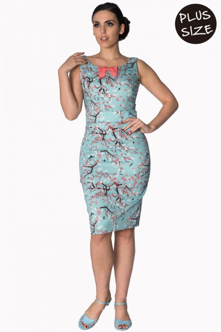 Banned Apparel - Oriental Blossom Wiggle Light Blue Dress Plus Size