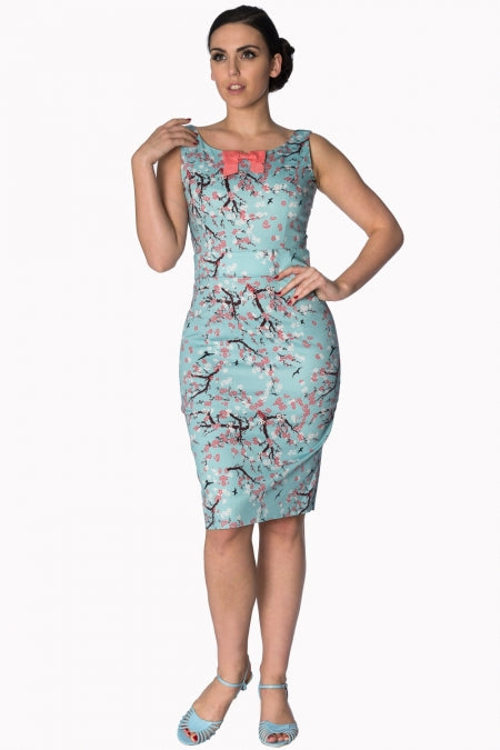 Banned Apparel - Oriental Blossom Wiggle Light Blue Dress