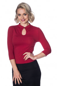 Banned Apparel - Peek A Boo Mandarin Collar Top
