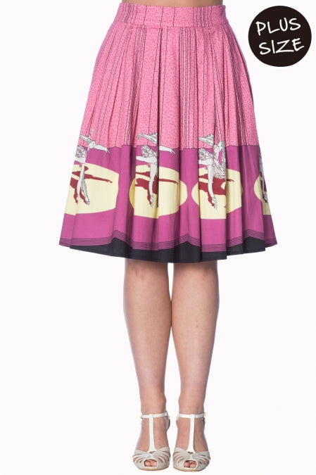 Banned Apparel - Pink Ballerina Border 50s Skirt Plus Size