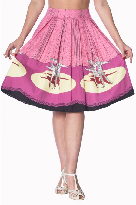 Banned Apparel - Pink Ballerina Border 50s Skirt