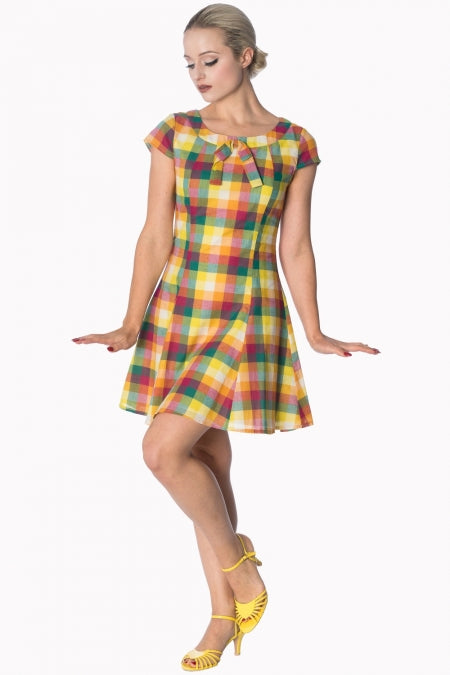 Banned Apparel - Rainbow Check Built Up Dress - Egg n Chips London