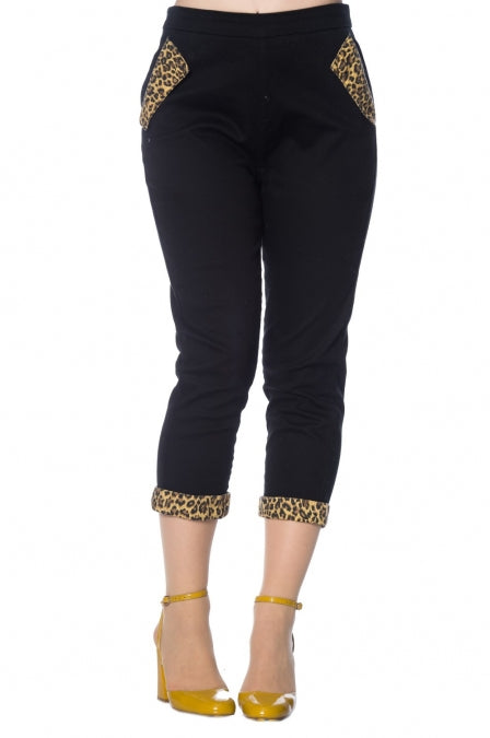 Banned Apparel - Rock n Roll Leopard Denim Capri Pants