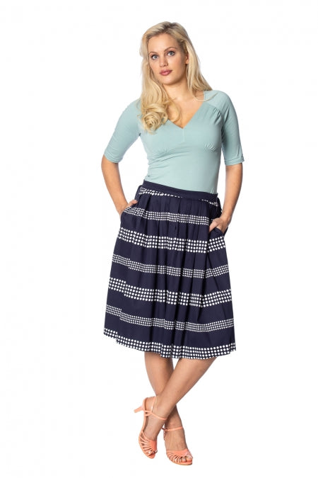Banned Apparel - Sail Away Pleats Please Skirt