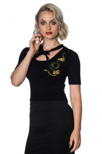 Banned Apparel - Serpent Tie Front Knitted Top