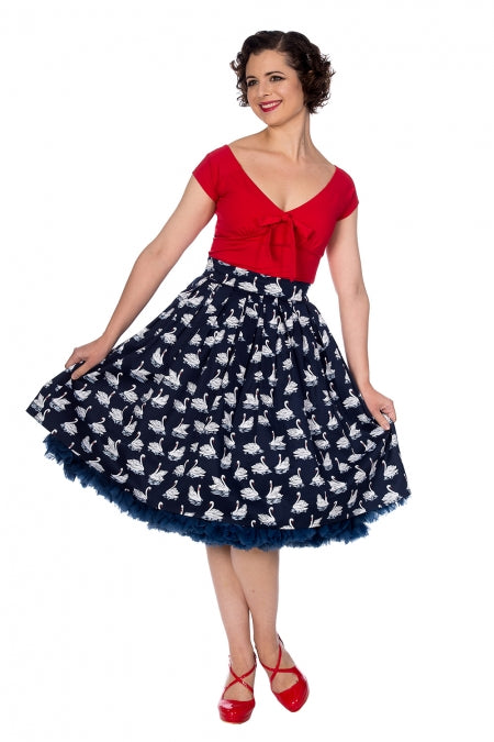 Banned Apparel - Summer Swan Pleated Skirt