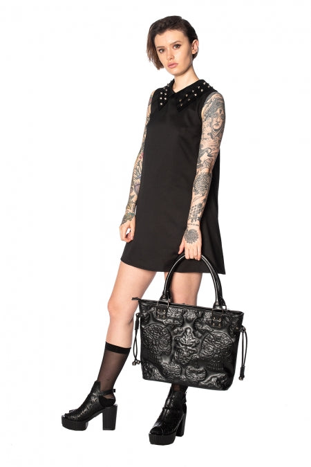 Banned Apparel - Urban Vamp Collar Studs Dress