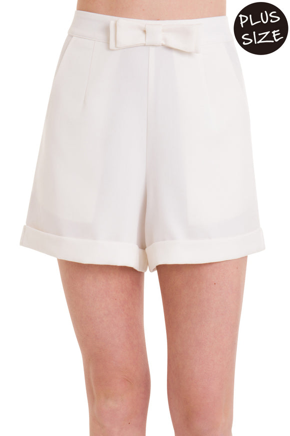 Banned Apparel - White Betsy Short Plus Size