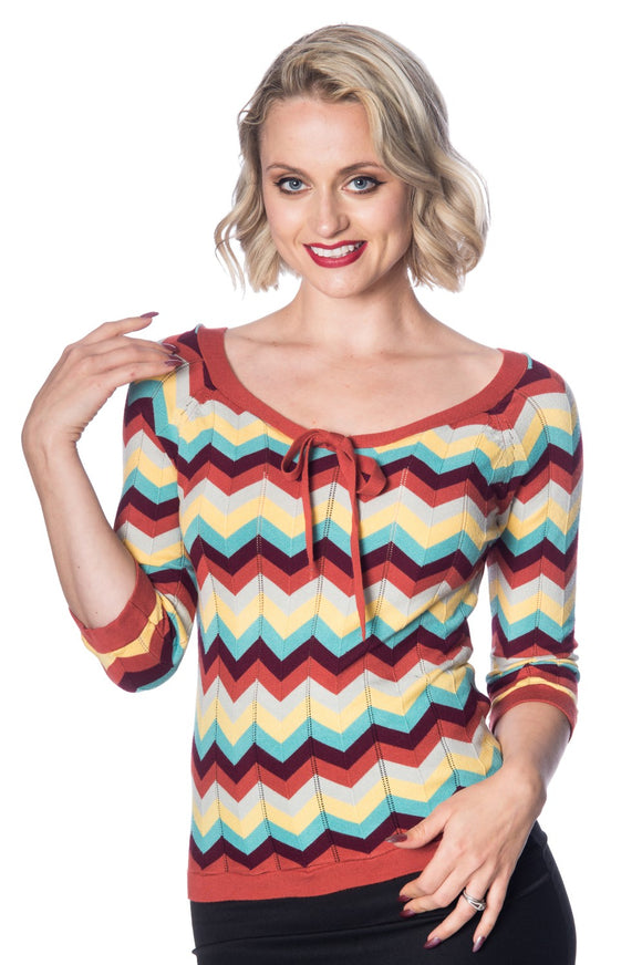 Banned Apparel - Zooey Zig Zag Bow Front Top