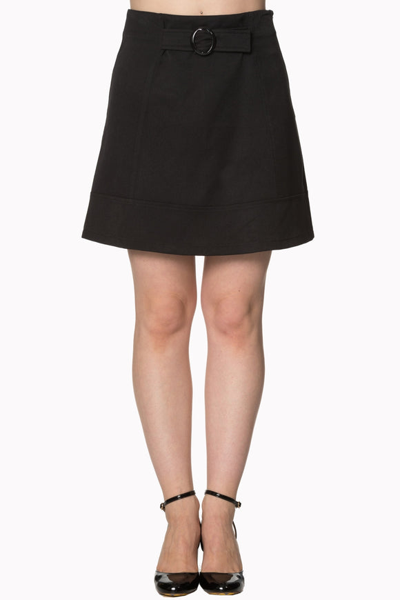 Banned Apparel - Women's Black Skirt With Front Belt Design - Egg n Chips London