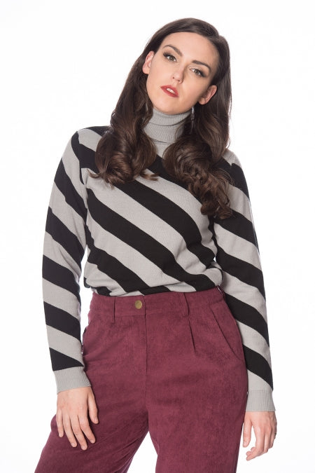 Banned Clothing - 80s Diagonal Stripe Jumper