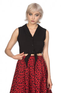 Banned Clothing - Bat Winged Collar Tie Blouse