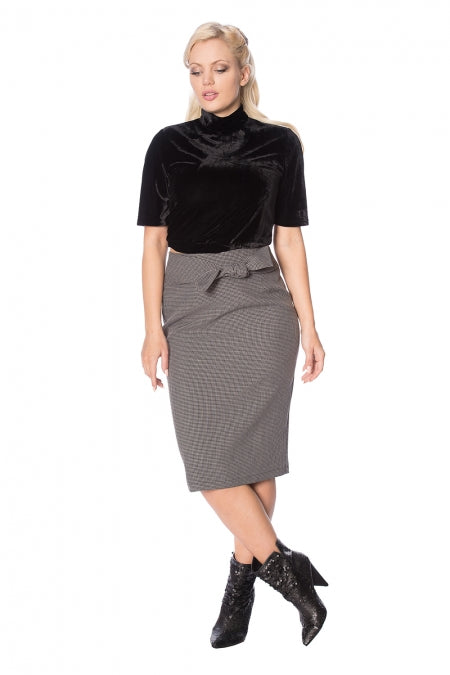 Banned Clothing - Betty Tie Front Pencil Skirt