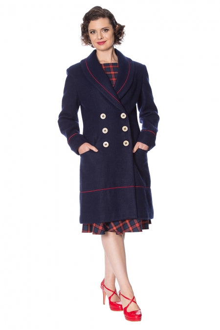 Banned Clothing - Blue Diva Coat