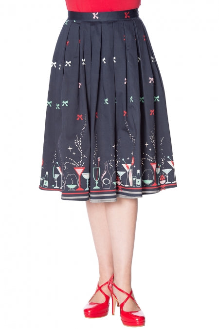 Banned Clothing - Christmas Cocktails Skirt