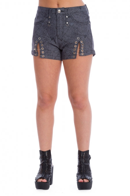 Banned Clothing - Creepy Spider Front Slit Shorts