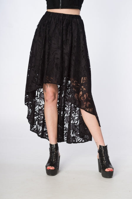 Banned Clothing - Doomed Romantic High Low Hem Skirt