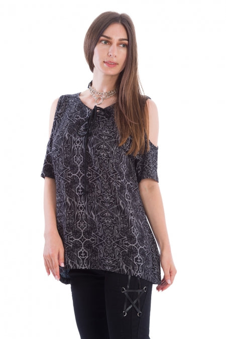 Banned Clothing - Esoteric Cold Shoulder Top
