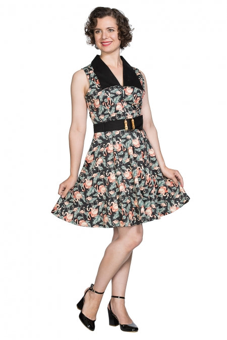 Banned Clothing - Flamingo Honnie Flare Dress