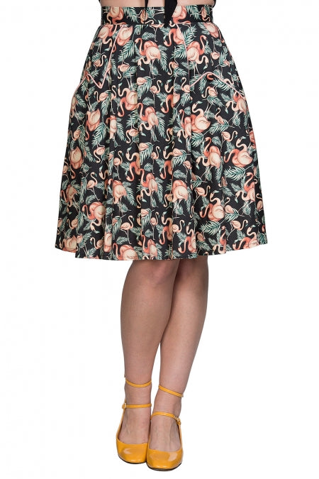 Banned Clothing - Flamingo Honnie Flare Skirt